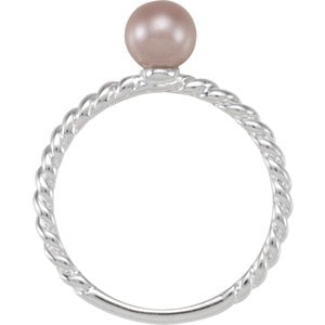 Imitation Pearl Rope Trimmed Stacking Ring, Sterling Silver, Size 7 (6MM)