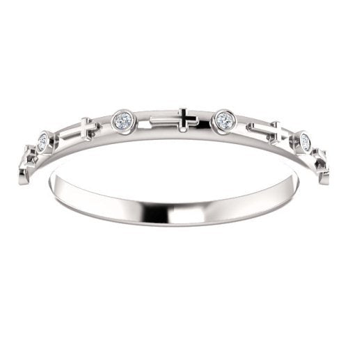 Petite Diamond Cross Ring, Rhodium-Plated 14k White Gold (.03 CTW, Color G-H, Clarity I1)