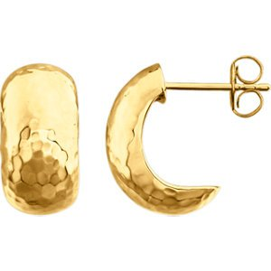Hammered Hoop Earrings, 14k Yellow Gold