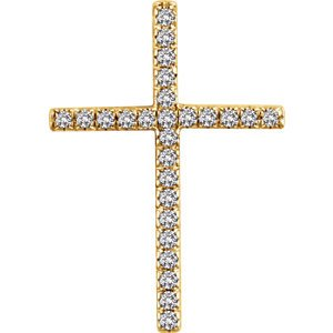 Diamond Latin Cross Pendant, 14k Yellow Gold (.25 Ctw, H+ Color, I1 Clarity)