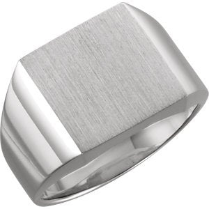 Men's Brushed Signet Ring, 18k Palladium White Gold (16mm)