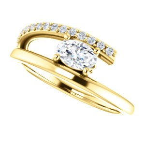 White Sapphire and Diamond Bypass Ring, 14k Yellow Gold (.125 Ctw, G-H Color, I1 Clarity)