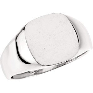 16 mm Mens Sterling Silver Signet Ring, Size 6 to 7