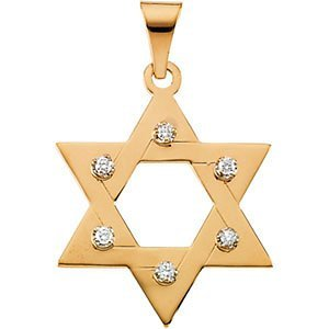 Diamond Star of David 14k Yellow Gold Pendant