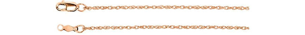1.25mm 14k Rose Gold Rope Chain, 18""