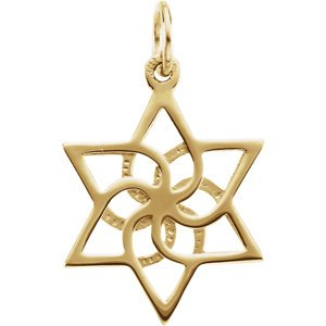 Star of David 14k Yellow Gold Pendant (Made in Holy Land)