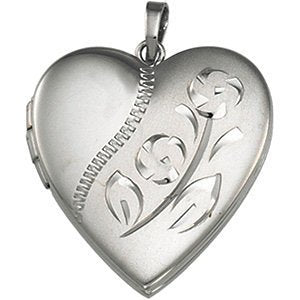 Sterling Silver Heart Locket with Etched Flower