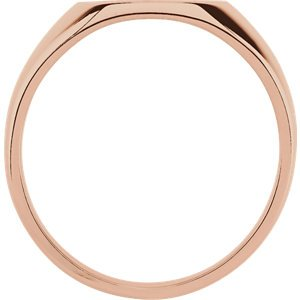 Men's 10k Rose Gold Brushed Hollow Signet Ring (14x12mm)