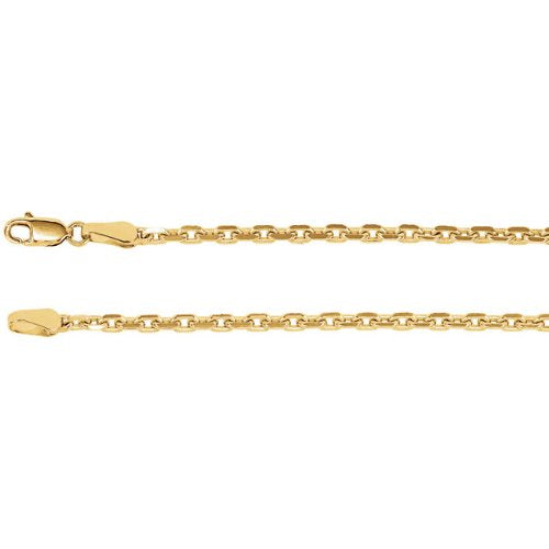 2.5mm 14k Yellow Gold Diamond Cut Cable Chain Bracelet, 7""