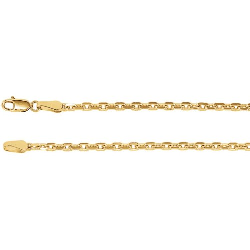 2.5mm 14k Yellow Gold Diamond Cut Cable Chain, 16""