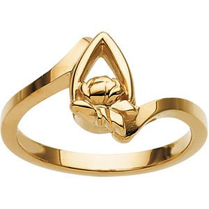 10k Yellow Gold Rose Tear Drop Memory Ring, Size 7