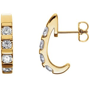 Channel Set Diamond J-Hoop Earrings, 14k Yellow Gold (1 Ctw, Color G-H, Clarity I1)