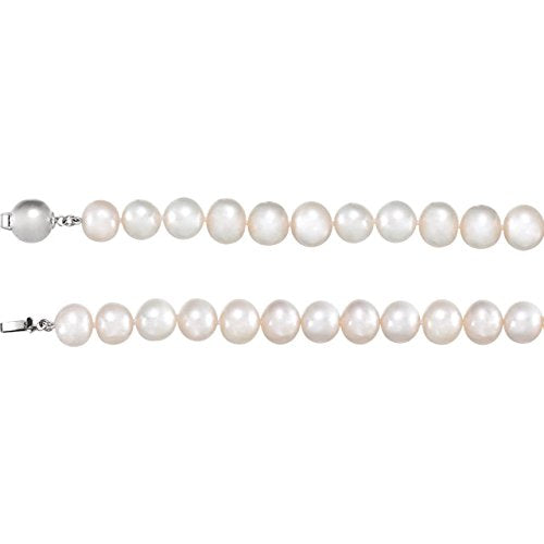 "White Freshwater Cultured Pearl Sterling Silver Necklace, 18"" (10.00-11.00MM)"
