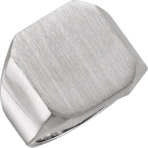 Men's Brushed Signet Ring, Continuum Sterling Silver (18X16MM)
