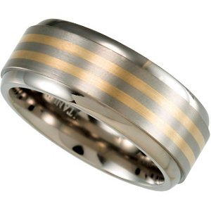 8mm Comfort Fit Titanium and 14k Yellow Gold Inlay Band Sizes 8 to 13