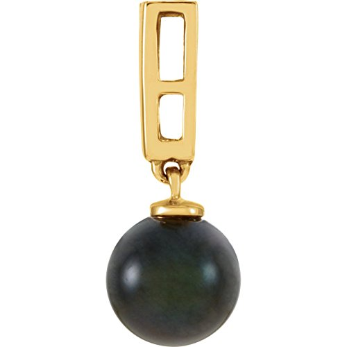14k Yellow Gold Black Akoya Cultured Pearl and Diamond Pendant
