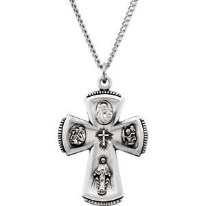 "Sterling Silver 4-Way Cross Necklace, 24"" (31.5x21.25 MM)"
