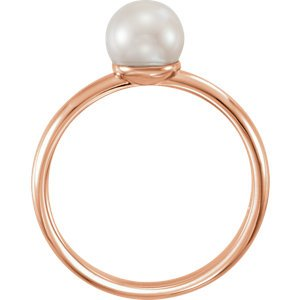 White Freshwater Cultured Pearl Solitaire Ring, 14k Rose Gold (6.5-7mm) Size 7