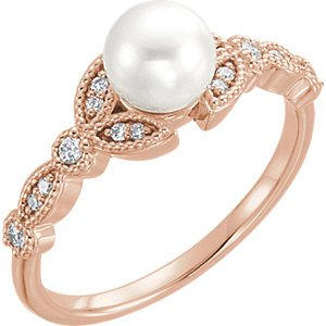 White Freshwater Cultured Pearl, Diamond Leaf Ring, 14k Rose Gold (6-6.5mm)( .125 Ctw, Color G-H, Clarity I1) Size 8