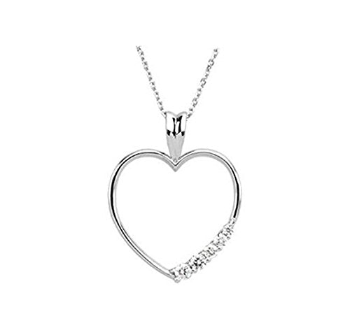 14k Yellow Gold 1/5 Cttw. Diamond Heart Journey Pendant Necklace, 18""