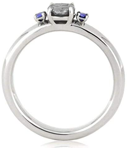 10k White Gold Blue Sapphire, Meteorite Ring and Blue Sapphire, Diamond Comfort-Fit Titanium Band His and Hers Rings