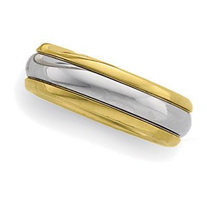 6mm 18k Yellow Gold and Platinum Two Tone Comfort Fit Design Band, Sizes 5 to 12.5