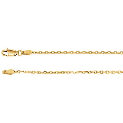 2mm 14k Yellow Gold Diamond Cut Cable Chain, 18""
