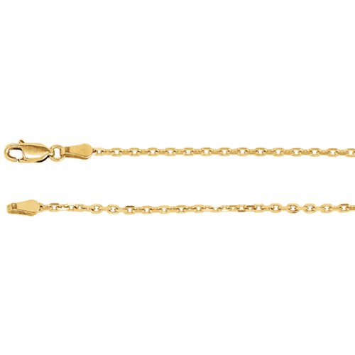 2mm 14k Yellow Gold Diamond Cut Cable Chain, 24""