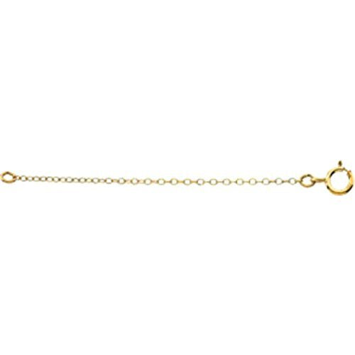14k Yellow Gold Cable Chain Necklace Extender, Safety Chain, 2.25""