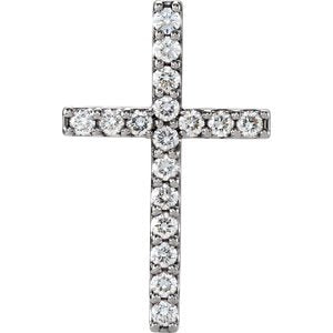 Diamond Petite Cross Rhodium-Plated 14k White Gold Pendant (.5 Ctw, G-H Color, I1 Clarity)