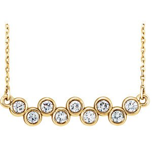 "Bezel-Set Diamond Bar Necklace, 14k Yellow Gold, 16-18"" (0.5 Ctw, G-H Color,I1 Clarity)"