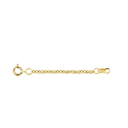 1.50 mm 14k Yellow Gold Bead Chain Necklace Extender Safety Chain