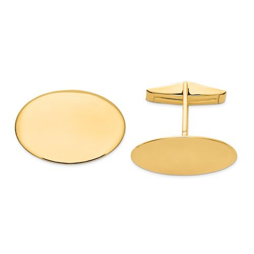 14k Yellow Gold Oval Cuff Links, 23X17MM