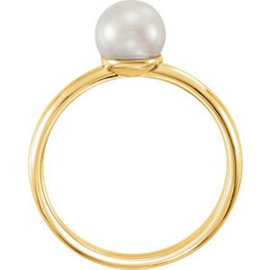 White Freshwater Cultured Pearl Solitaire Ring, 14k Yellow Gold (6.5-7mm) Size 7