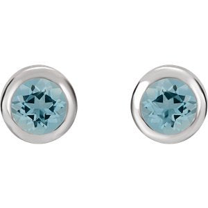 Simulated March Birthstone CZ Solitaire Stud Earrings, Rhodium-Plated Sterling Silver