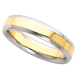 4mm 18k White and Yellow Gold Comfort Fit Beveled Edge Band, Size 5