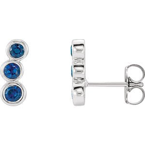 Imitation Blue Sapphire Three-Stone Ear Climbers, Sterling Silver
