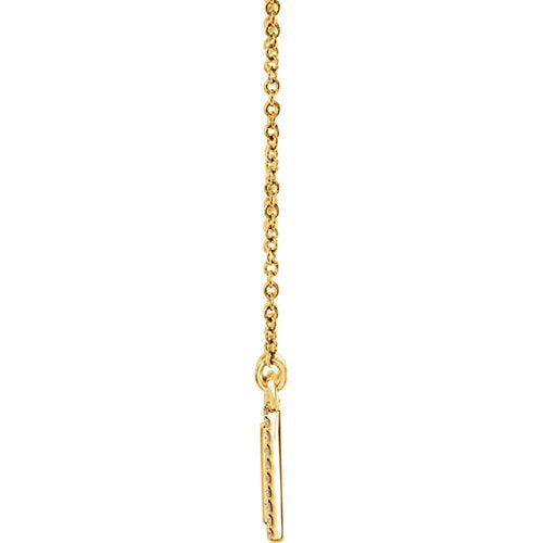 "Diamond Bar Engravable Necklace, 14k Yellow Gold, 18"" ( 0.16 Ctw, G-H Color, I1 Clarity)"