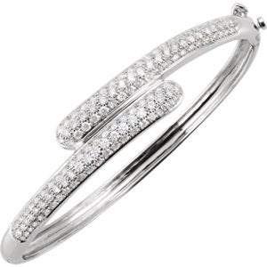 "Bypass Diamond Bangle Bracelet, 14k White Gold, 6.5"" (3 Cttw, GH Color, I1 Clarity)"