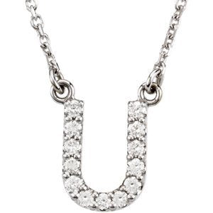 "14k White Gold Diamond Alphabet Letter U Necklace (1/8 Cttw, GH Color, I1 Clarity), 16.25"" to 18.50"""