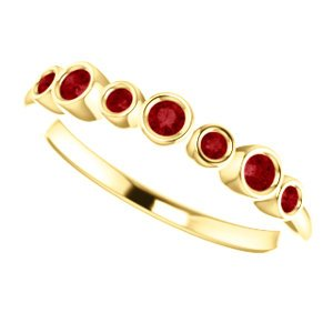Created Chatham Ruby 7-Stone 3.25mm Ring, 14k Yellow Gold