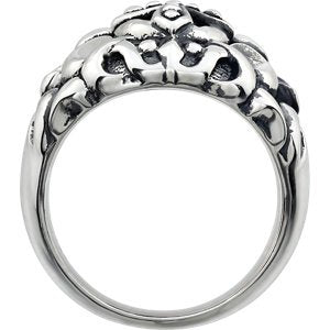 Men's Antiqued Granulated Cross Sterling Silver Dome Ring, Size 10