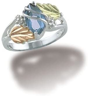 Marquise Created Aquamarine March Birthstone Ring, Sterling Silver, 12k Green and Rose Gold Black Hills Gold Motif, Size 4