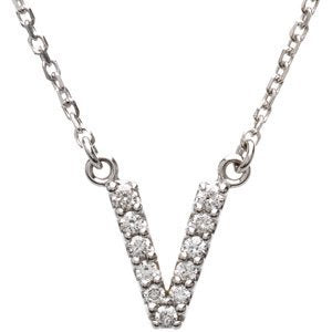 "14k White Gold Diamond Alphabet Letter V Necklace (1/8 Cttw, GH Color, I1 Clarity), 16.25"" to 18.50"""