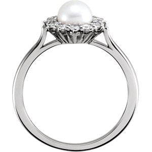 White Freshwater Cultured Pearl and Diamond Halo Ring, Rhodium-Plated 14k White Gold (5.5-6mm) (.33Ctw, G-H Color, I1 Clarity) Size 7