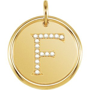 "Diamond Initial ""F"" Pendant, 14k Yellow Gold (.08 Ctw, Color G-H, Clarity I1)"