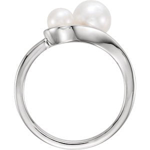 White Freshwater Cultured Pearl Two-Stone Ring, Rhodium-Plated 14k White Gold (4.5-5mm, 6.5-7mm)