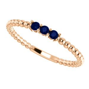 Blue Sapphire Beaded Ring, 14k Rose Gold, Size 7.75