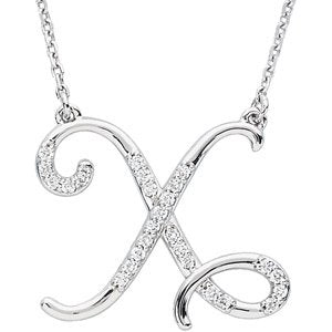 "Sterling Silver Alphabet Initial Letter X Diamond Necklace, 17"" (1/8 Ct, GH Color, I1)"