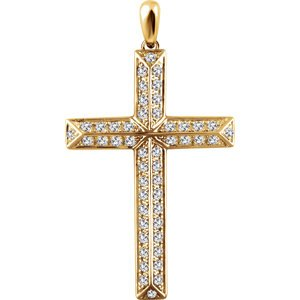 Diamond Angled Cross 14k Yellow Gold Pendant (.75 Ctw, H+ Color, I1 Clarity)